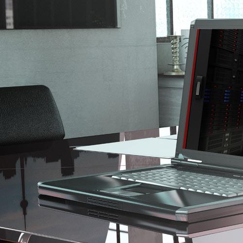 Desk With Laptop Dark